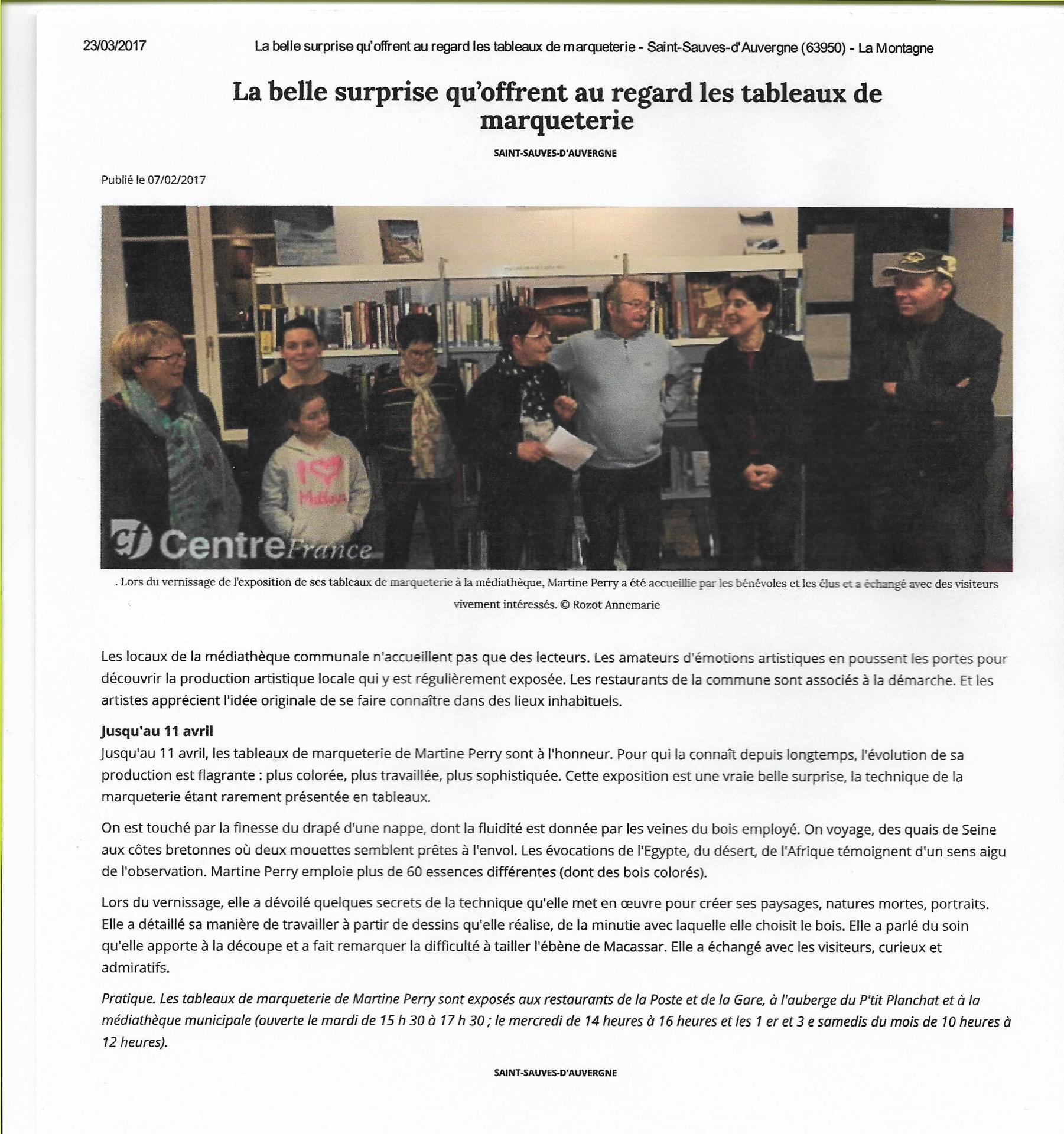 Article de La Montagne : Exposition à Saint-Sauves